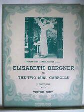 THE TWO MRS CARROLLS Souvenir Program ELISABETH BERGNER / VICTOR JORY NYC 1943