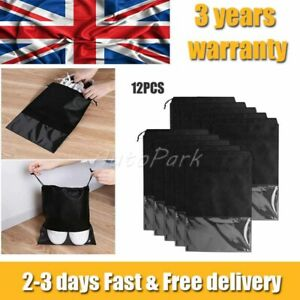 12x Pouch Drawstring Dust Bags Clear Non-woven Portable Shoes Bag Travel Storage