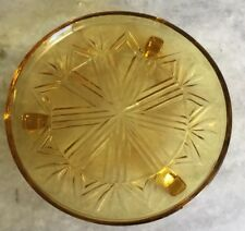 Lovely Vintage Depressed Amber Glass Footed Cake Stand