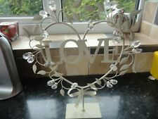 "CREAM METAL ""LOVE"" HEART ORNAMENT"