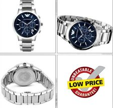 NEW EMPORIO ARMANI AR2448 STAINLESS STEEL BRACELET BLUE DIAL MEN'S WATCH UK