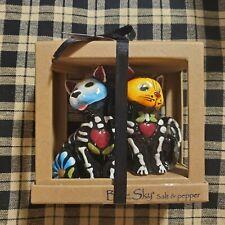 Blue Sky Clayworks Halloween Sugar Skull Cat Dog Salt Pepper Shakers Day Dead