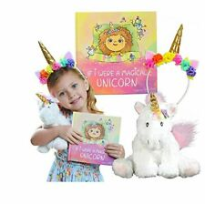 Unicorn Gift Set – Includes Book, Stuffed Plush Toy, and Headband for Girls -