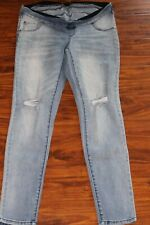 Wendy Bellissimo Maternity Jeans Denim Distressed Blue Jeans Size M Amazing