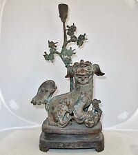 """Antique ? Chinese Bronze Foo Dogs or Shi Shi Temple Lions Statue  (15.5"""" tall)"""