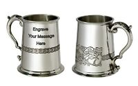 NEW Personalised 1 Pint Celtic Dragon Pewter Tankard Any Message Engraved