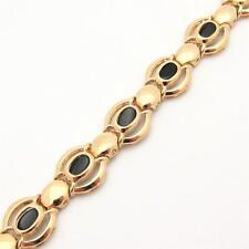 138941509b2595 Men's 14K Polished Yellow GOLD Black Onyx Bracelet Lobster Clasp 17.4 grams