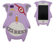 COVER IPHONE 4 4S CASE CUSTODIA SILICONE MAIALINO MAIALE VIOLA CHIARO PURPLE PIG