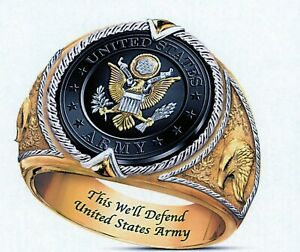 US Army Seal with Eagl Gold IP Stainless Steel Ring -SIZE 11