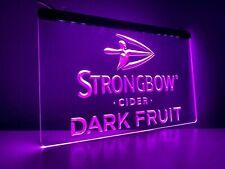 More details for strongbow dark fruit purple led light strip neon bar sign home decor pub mancave