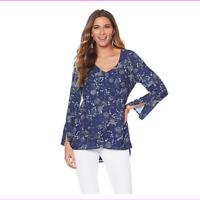 LYSSE Women's Slit Sleeve V-Neck Blouse Top
