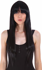 Halloween Women Black Long Straight Cosplay Party Costume Wigs Full Hair Wig