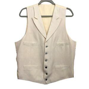Crittenden Silk & Linen Vest ML 42 Notched Lapels 6 Button Pockets Ivory