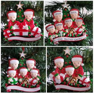 Personalised Christmas Tree Decoration Pyjama Family 2-6 Holding Presents