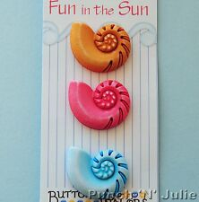 NAUTILIUS SHELLS - Fun in the Sun Sea Sealife Ocean Beach Novelty Craft Buttons