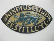 ANTIQUE 1930 s. INSURANCE TIN SIGN  Estonia Lloyd