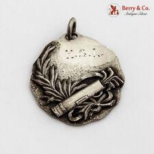Ornate Golf Medal Pendant Sterling Silver 1920 Monogram