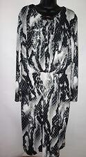 Jones of New York Dress Women 3x Black White Long Sleeve Drape Front Career b18