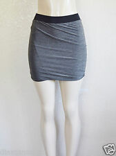 GUESS Women's Grey Marled-Plated Jersey Skirt sz L