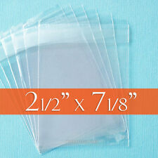 "100 Resealable Clear Cello Bags 2 1/2""  x  7 1/8"" for bookmarks, candy bars, opp"
