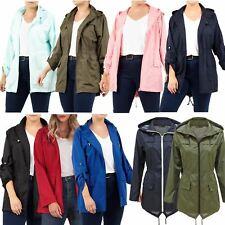New Ladies Plain Water Proof Hooded Fishtail Parka Mac Raincoats Jackets