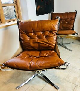 VINTAGE RETRO SIGURD RESELL LEATHER LOW BACK CHROME FALCON CHAIR SET