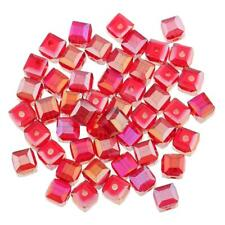 50pcs Red Faceted Square Cube Glass Crystal Loose Spacer Beads for DIY Craft