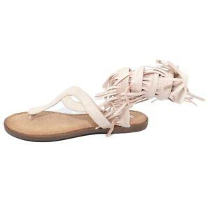 Sandalo basso donna cipria estivo alla schiava infradito serpendino frange gladi