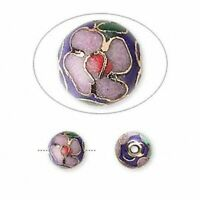 10 Gold Plated Copper Enamel Multicolored Cobalt Cloisonné 8mm Round Beads