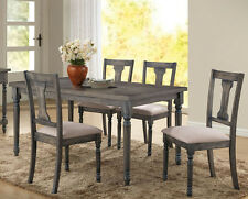 NEW 5PC LILLY WEATHERED GRAY WASH FINISH WOOD DINING TABLE SET W/ 4 SIDE CHAIRS