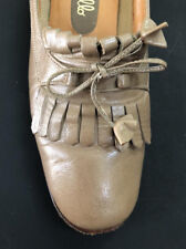 Great Vtg Pappagallo 70s Tan/ Brown Brogue / Tassel Low Heel Pumps Size 6M