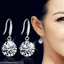 Fashionable Women Silver Crystal Rhinestone Ear Hook Earrings Gift Christmas