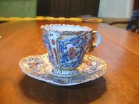 Gorgeous Antique Meissen Hand Painted & Gilded Cup And Saucer