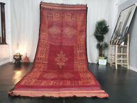 Moroccan Tribal Mzouda Vintage Handmade Rug 5'3x12 Berber Red Geometric Wool Rug