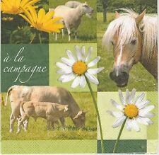 2 Serviettes en papier A la campagne Cheval Vache Paper Napkins Country Way