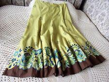 Lightweight cotton skirt by NEXT Yellowy green & multi Size 14 - 16