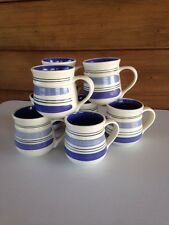 Pfaltzgraff Rio, Blue Stripe Rings, Set of 8 Mugs Coffee Cups Stoneware 14oz