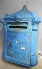 Antique Cast Iron French Mailbox Poste Architectural Blue 1899 Ornate Mougeotte