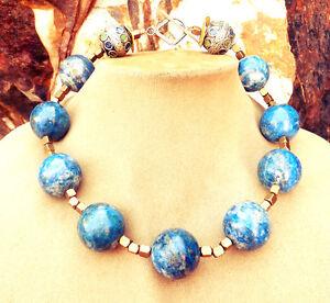GEN LAPIS LAZULI NATURAL GEMSTONE NECKLACE Enamel Berber Beads Sterling Silver