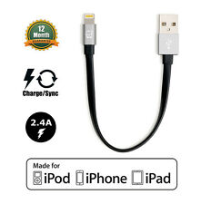 Apple MFI Certified Lightning to USB Cable Black/Gray (Short Length 7.5in)