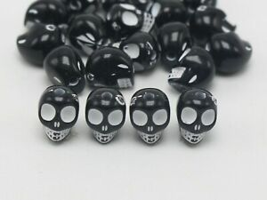 100 Black Colour With White Acrylic Halloween Gothic Skull Beads 10mm Steam Punk