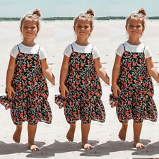 AU Family Dress Mother and Daughter Matching Women Girl Floral Strap Beach Dress