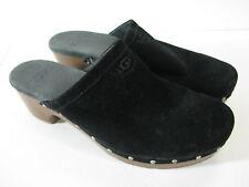 UGG Australia BLACK SUEDE LEATHER Clogs Mules Shoes EVIE w/LOW HEEL sz US-5