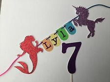 Rainbow, Unicorn and Mermaid Birthday Cake Garland Bunting with Glitter letters