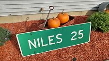 "Super Cool Michigan Vintage Highway Road Sign ""Niles 25"" Niles, MI - 4.5 Feet!"