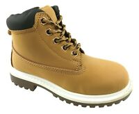 BOYS/GIRLS FAUX LEATHER GRIP SOLE CASUAL LACE UP BOOTS TAN SIZE UK 10-2.5