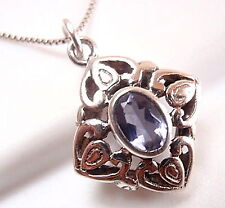 Iolite Necklace Small Faceted 925 Sterling Silver Floral Filigree Style New