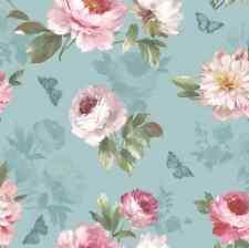 Vintage Flower Floral Statement Duck Egg Blue Pink Wallpaper Tropical Exotic