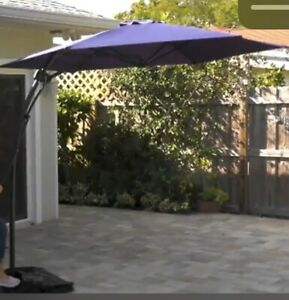 "8 ft 10"" (106"") Outdoor Patio 360 Degree Offset Umbrella Barbara King Steel Blue"
