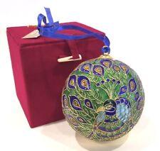 "Cloisonne Peacock Ball Large 3-1/2"" Christmas Ornament"